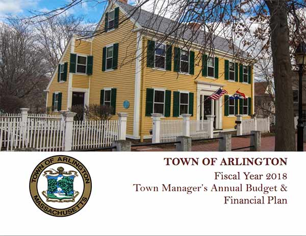 Cover of FY18 Town Manager Budget and Financial Plan