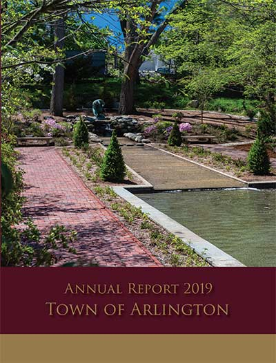 2019 Annual Town Report Cover Reflecting Pool at Town Hall Gardens